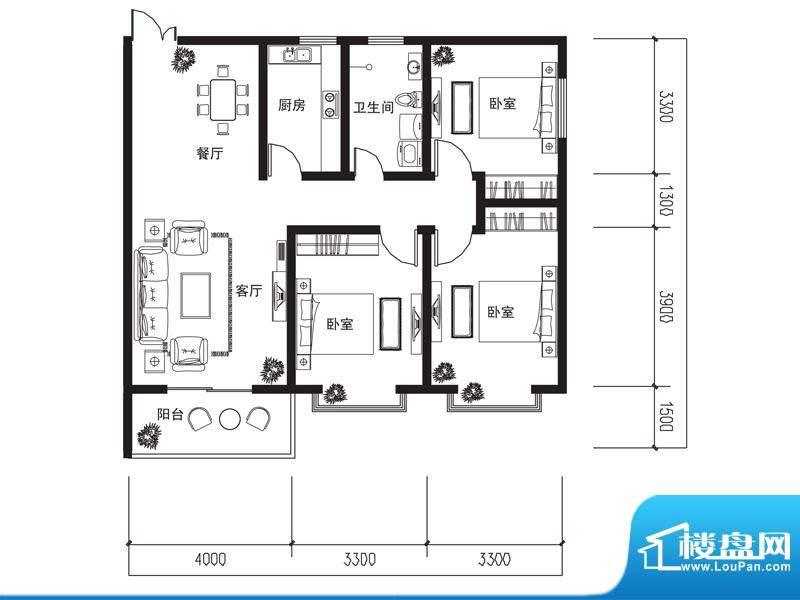 荆山名邸B户型 3室2面积:122.95m平米