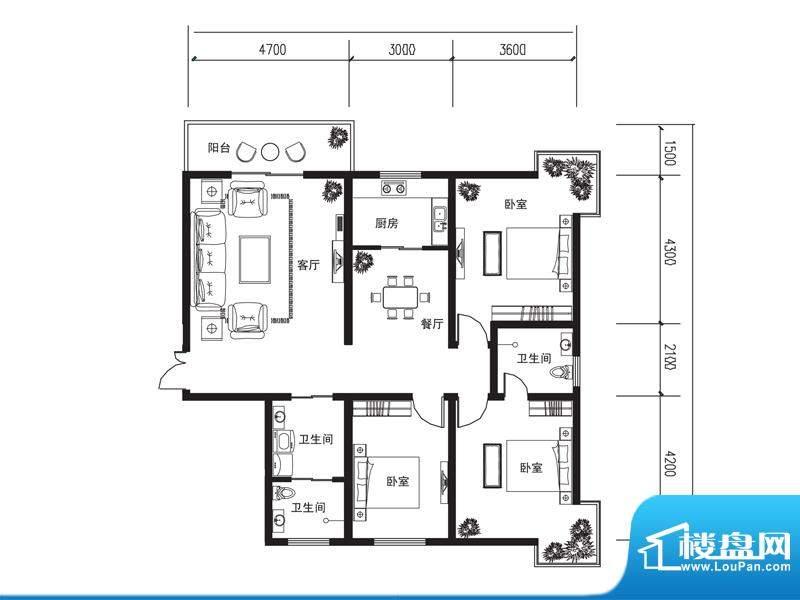 荆山名邸c户型 3室2面积:147.69m平米