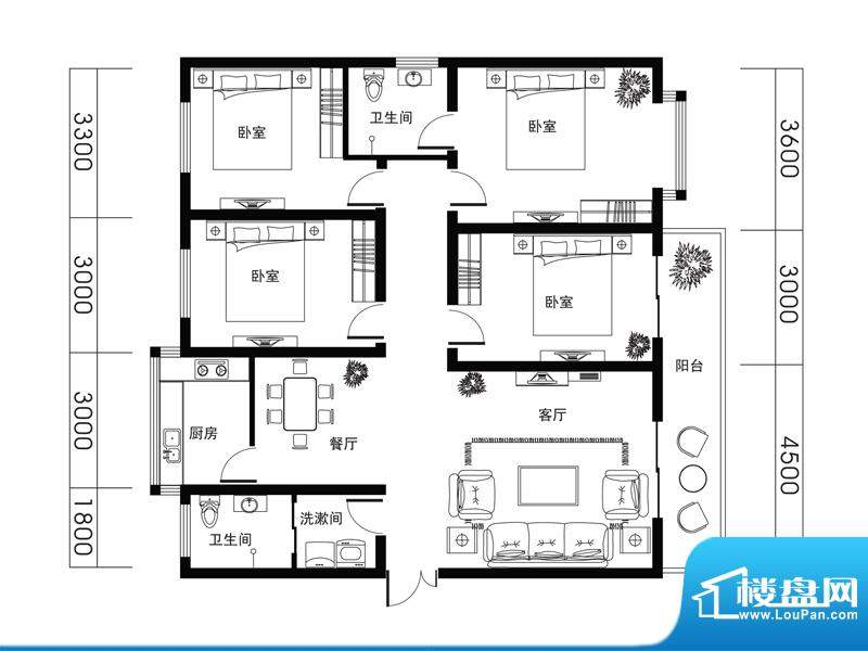荆山名邸D户型 4室2面积:156.96m平米