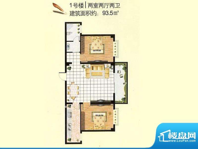 日月轩1号楼户型 2室面积:93.50m平米