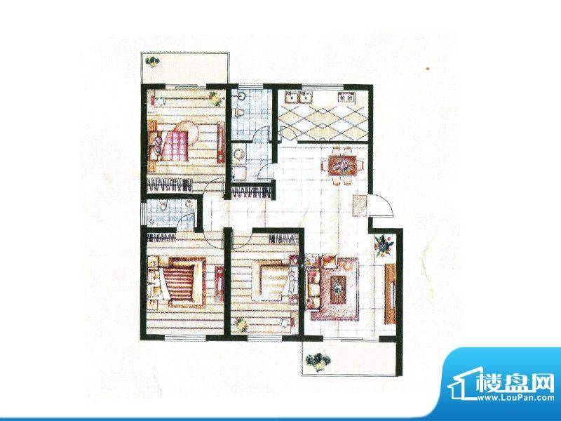 亚威金地家园户型图面积:142.00m平米