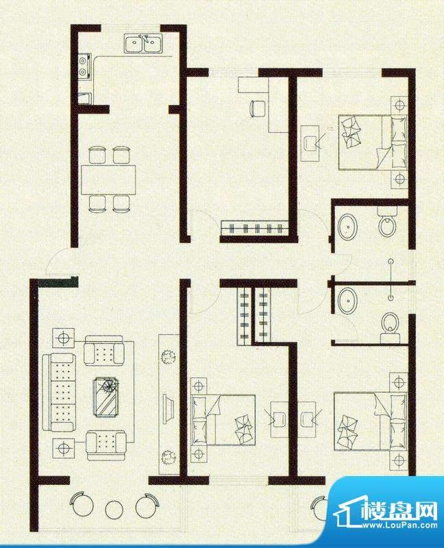亚威金地家园户型图面积:159.00m平米