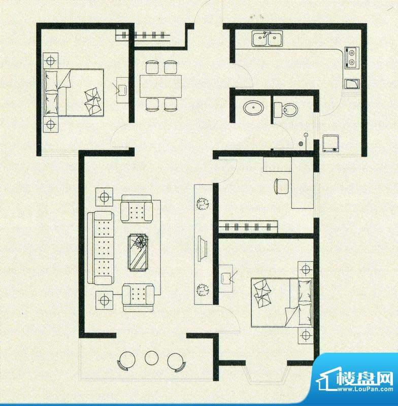 亚威金地家园户型图面积:127.00m平米