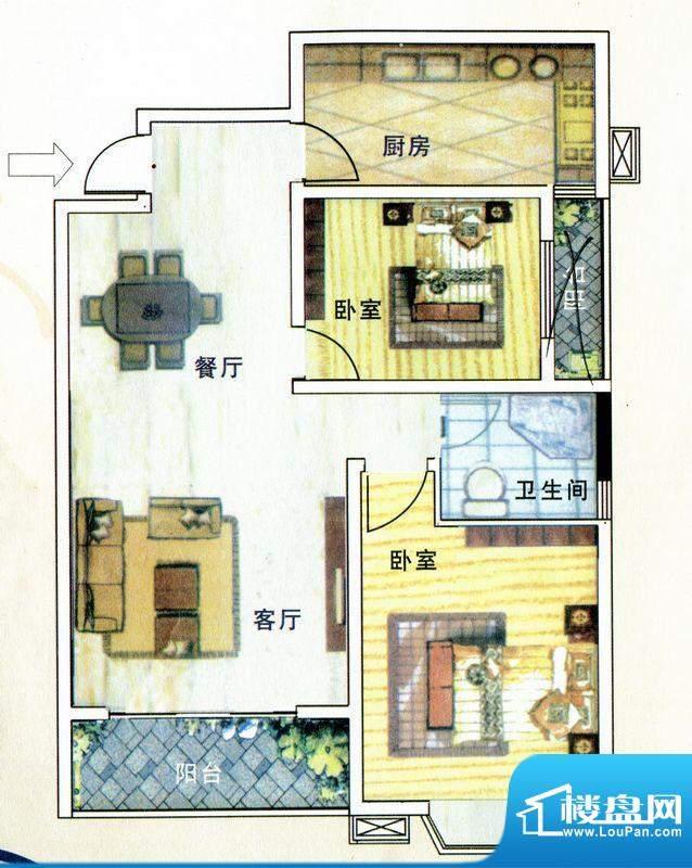 亚威金地家园B户型 面积:99.00m平米