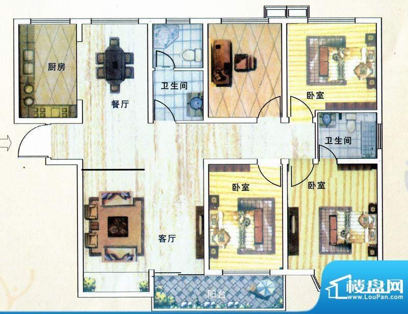 亚威金地家园C户型 面积:142.47m平米