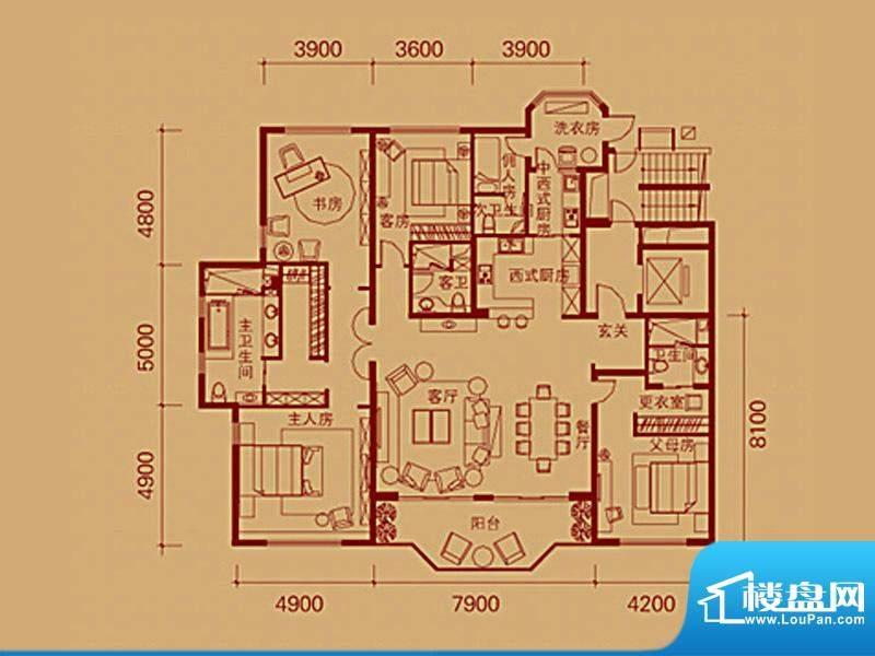 银润中央花园J户型 面积:272.46m平米