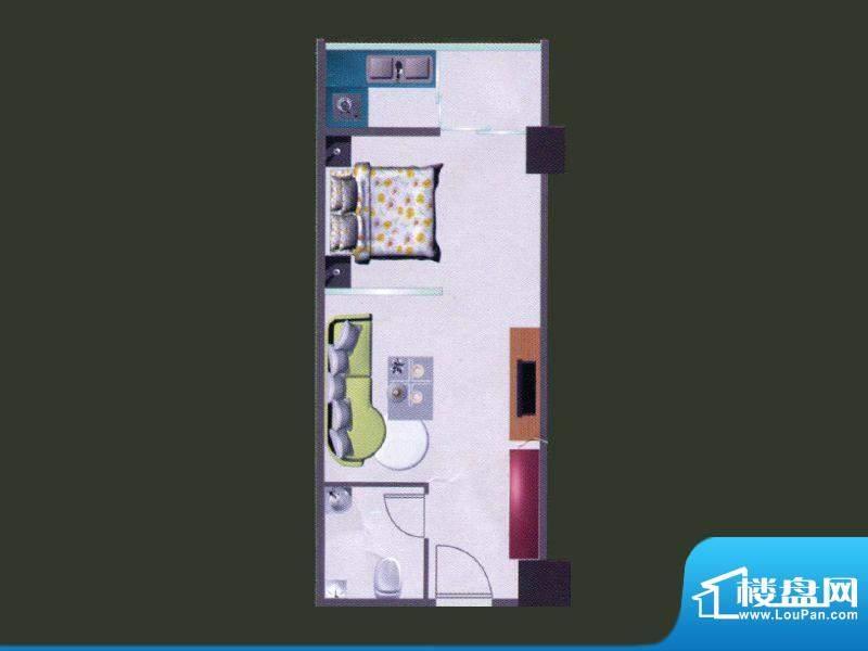 苹果公寓A户型 1室1面积:54.65m平米