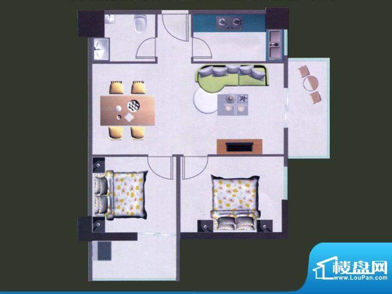 苹果公寓C户型 2室1面积:95.87m平米