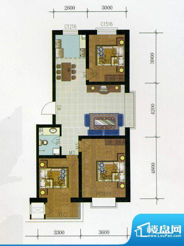 金润华府D1户型 3室面积:95.50m平米