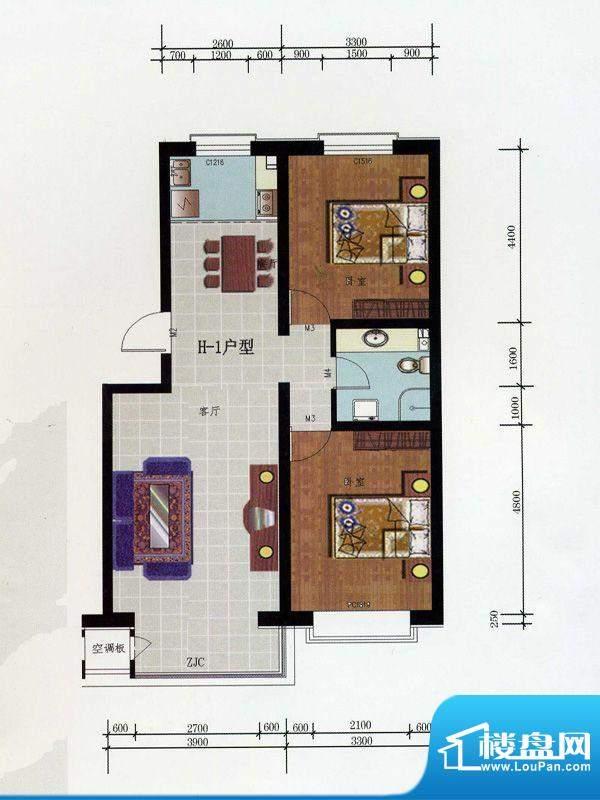 金润华府H1户型 2室面积:95.10m平米
