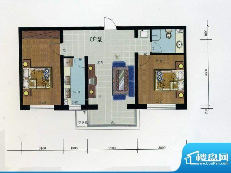 金润华府C户型 2室2面积:84.50m平米