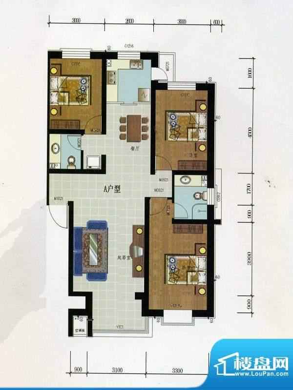 金润华府A户型 3室2面积:120.50m平米