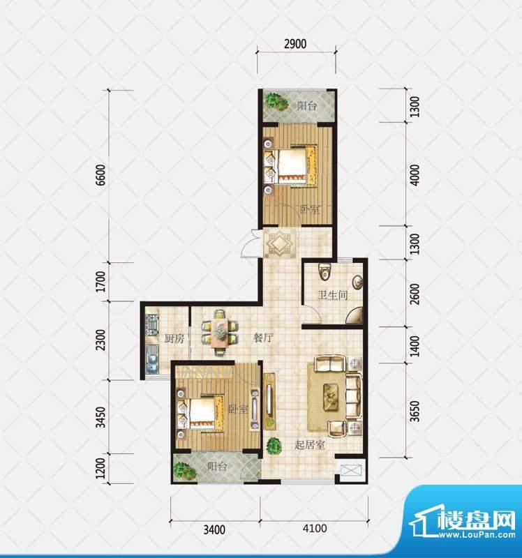 盛和观邸D户型 3室2面积:106.02平米