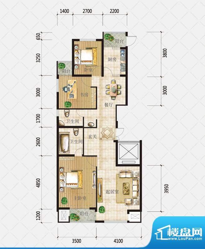 盛和观邸C1户型 3室面积:131.36平米