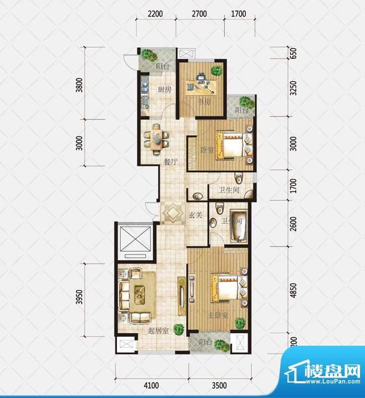 盛和观邸C2户型 3室面积:130.37平米
