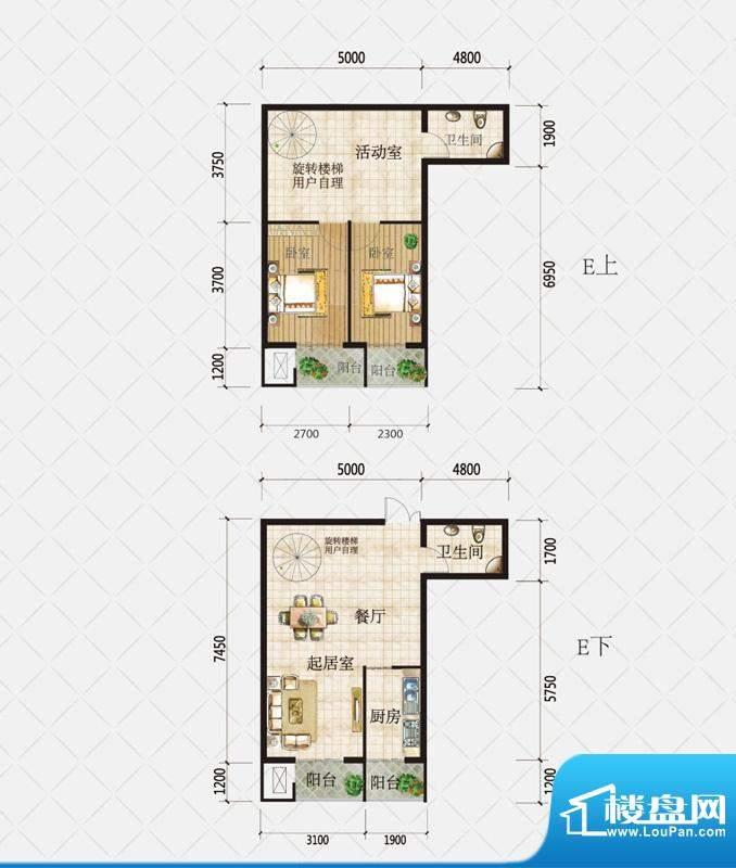 盛和观邸复式E户型 面积:118.10平米