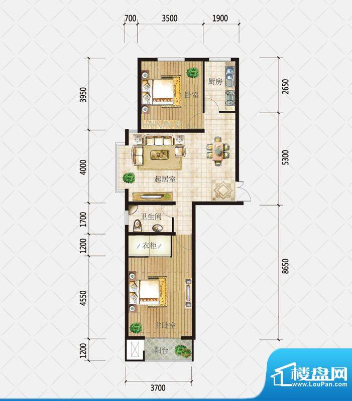 盛和观邸F户型 3室2面积:100.03平米