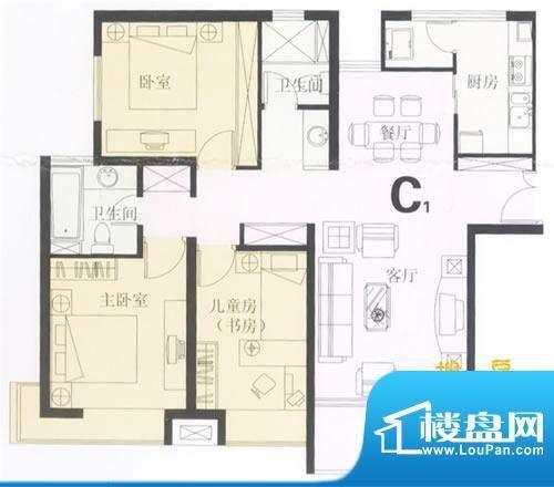 鼎城2008C1户型图 3面积:109.44平米