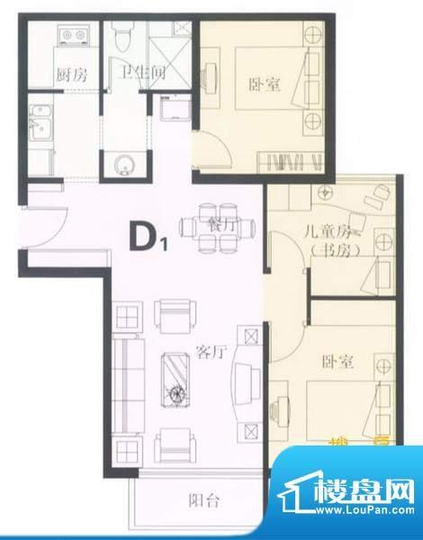 鼎城2008D1户型图 3面积:94.00平米