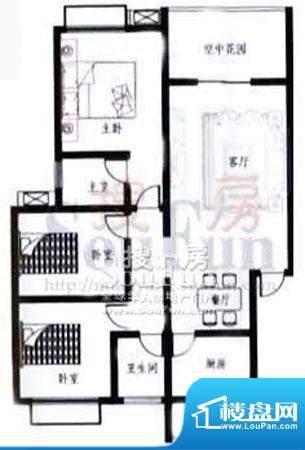 梓锦新城户型图 3室面积:114.25平米
