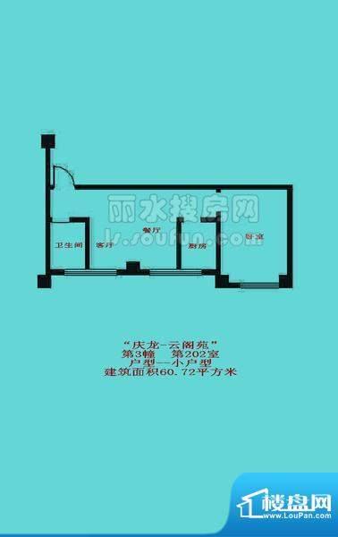庆龙云阁苑3#小户型面积:60.72平米