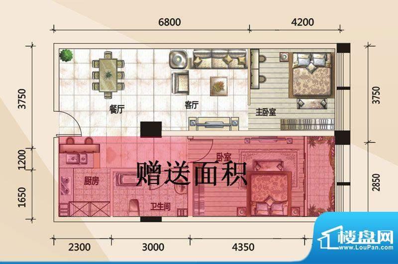 779财富中心D户型图面积:55.31m平米