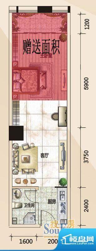 779财富中心E户型图面积:43.15m平米