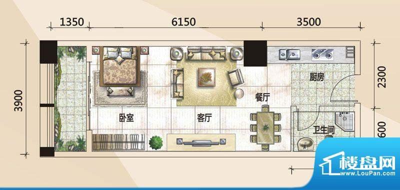 779财富中心C户型图面积:55.06m平米