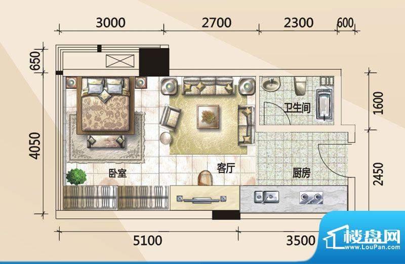 779财富中心B户型图面积:43.83m平米