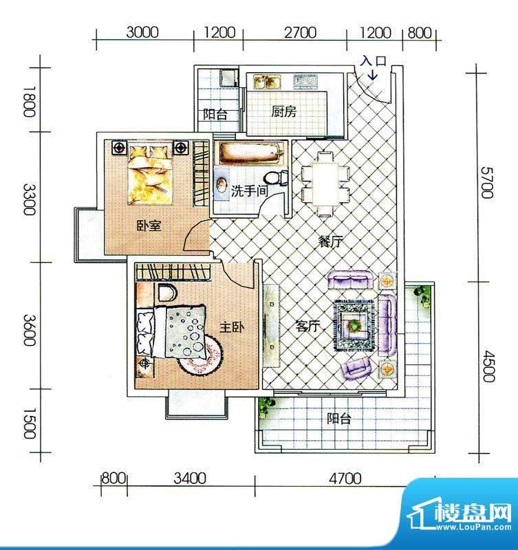 海辰国际C-4户型图 面积:77.43m平米