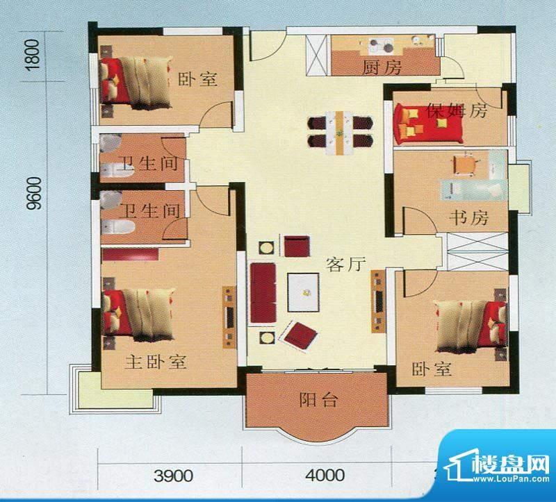 南国华城1#C户型图 面积:156.24m平米