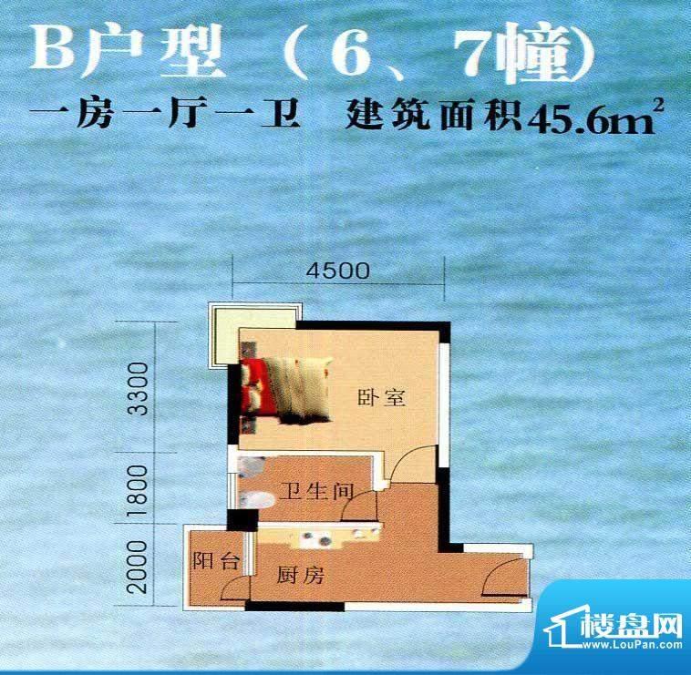 南国华城B户型(6、7面积:45.60m平米