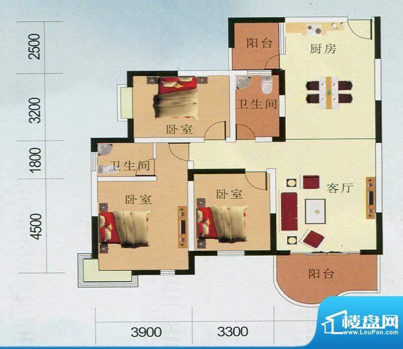 南国华城2#、3#D户型面积:138.58m平米