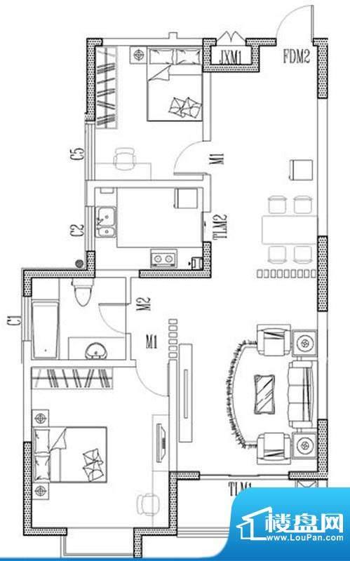 东营市福地大厦户型面积:105.00m平米