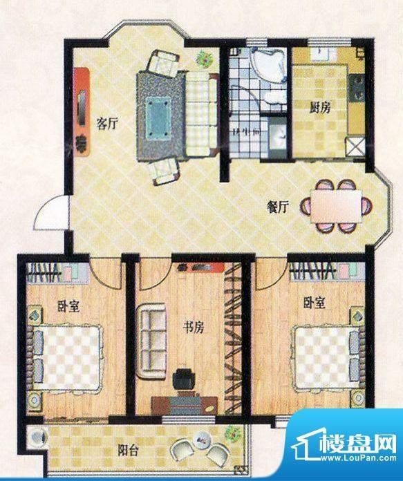 平章府1户型 3室2厅面积:112.80平米
