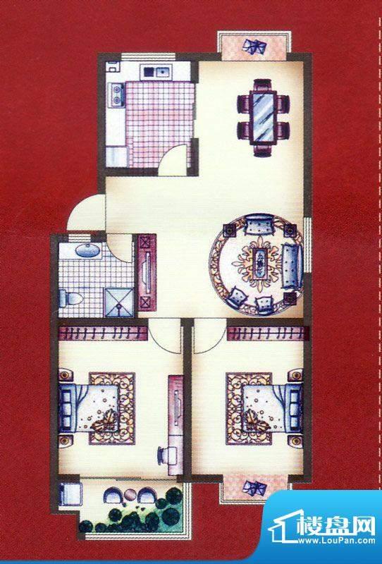 江山帝景多层住宅C户面积:91.20平米