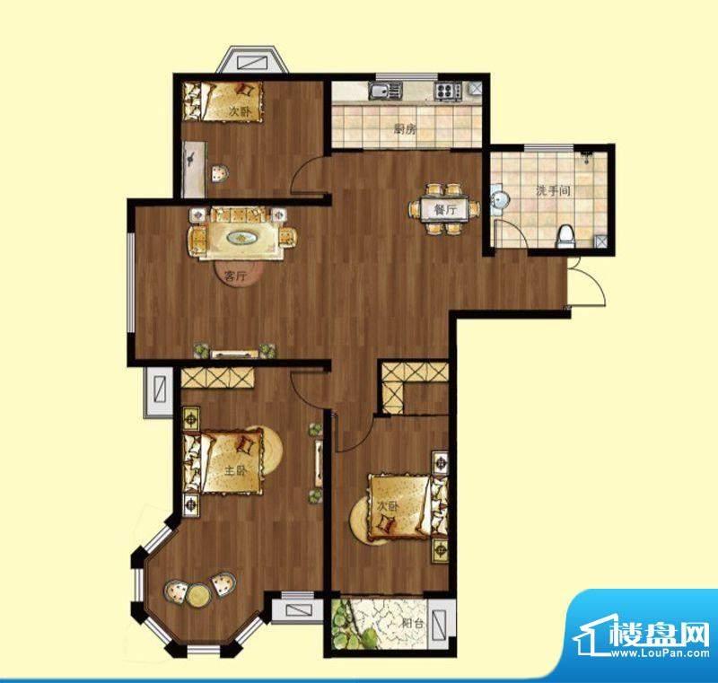 中南香堤雅苑A户型 面积:126.00平米