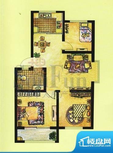 双羊新城3室2厅1卫1面积:94.55平米