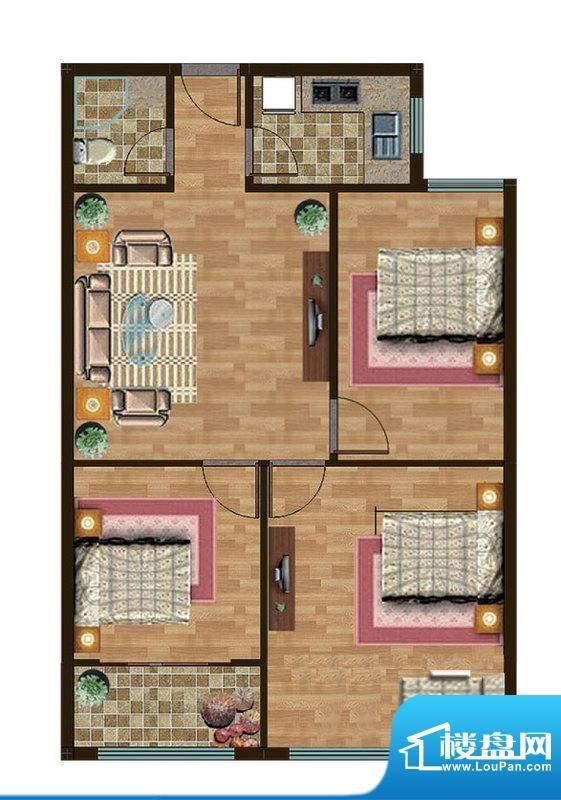 和扬晶立方B户型 3室面积:94.00平米