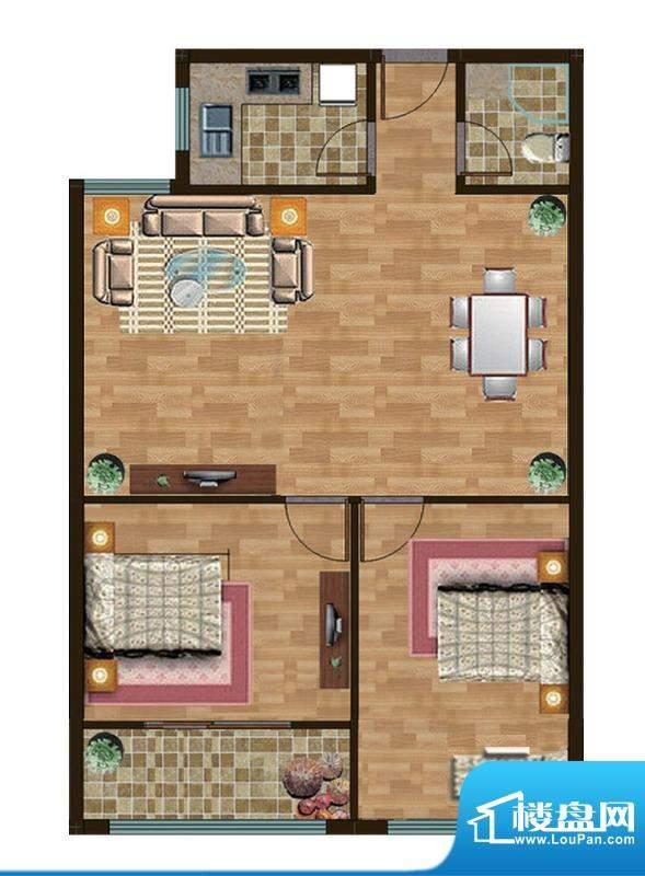 和扬晶立方C户型 2室面积:91.00平米