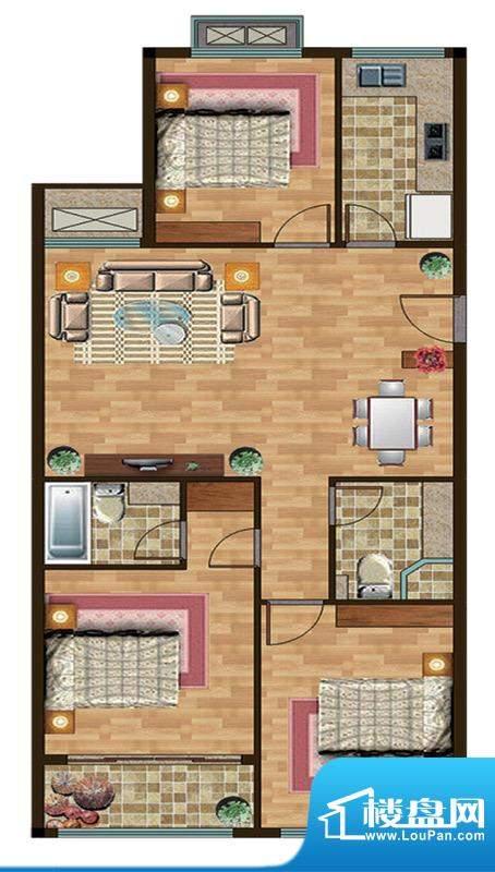 和扬晶立方E户型 3室面积:125.00平米