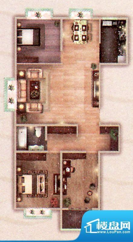 阳光御苑C户型 3室2面积:140.00平米