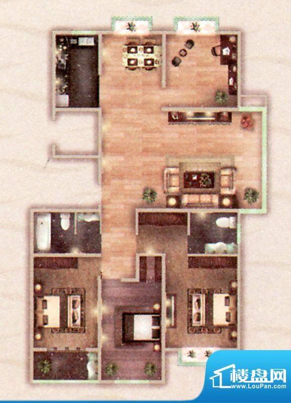 阳光御苑D户型 4室2面积:175.00平米