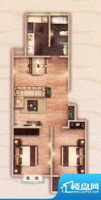 阳光御苑A户型 2室2面积:108.00平米