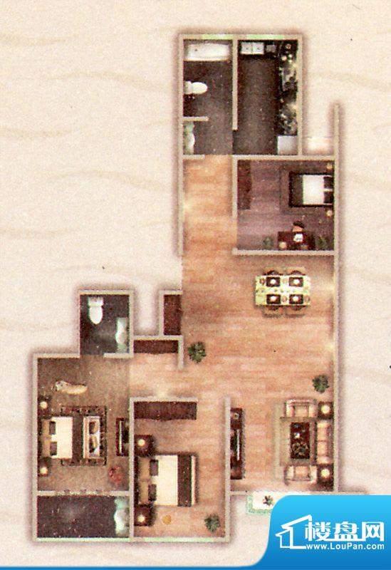 阳光御苑B户型 3室2面积:136.00平米