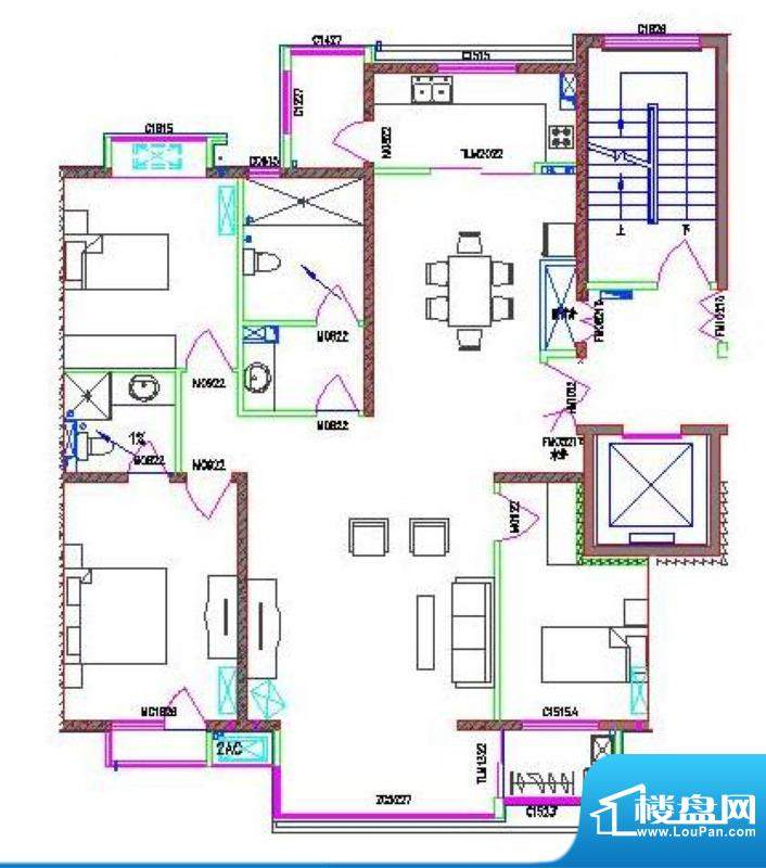 龙居苑154.26㎡户型面积:154.26平米