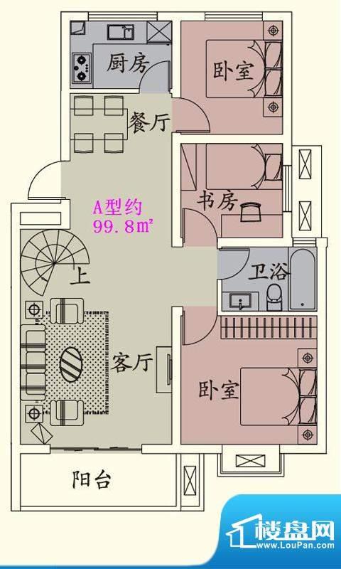 贵人蝶苑一期多层住面积:99.80平米