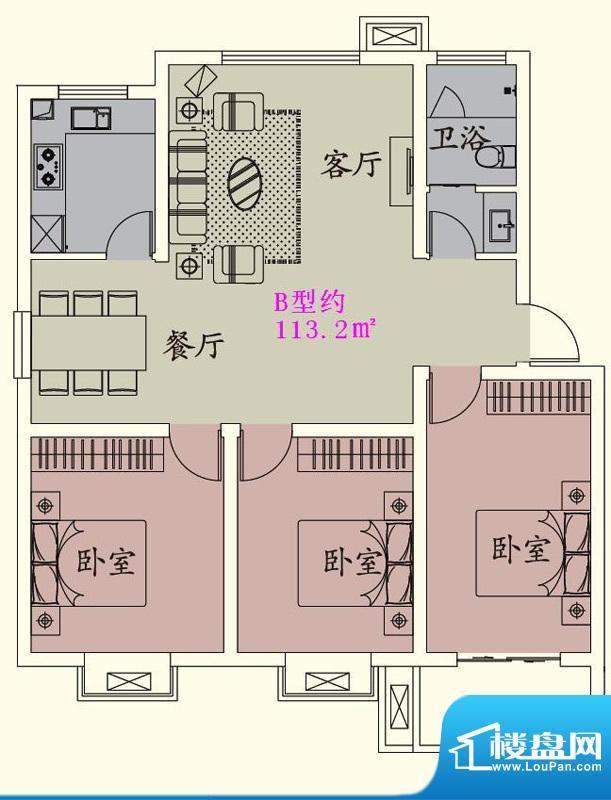 贵人蝶苑一期多层住面积:113.20平米