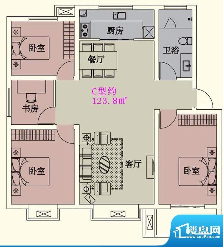 贵人蝶苑一期多层住面积:123.80平米