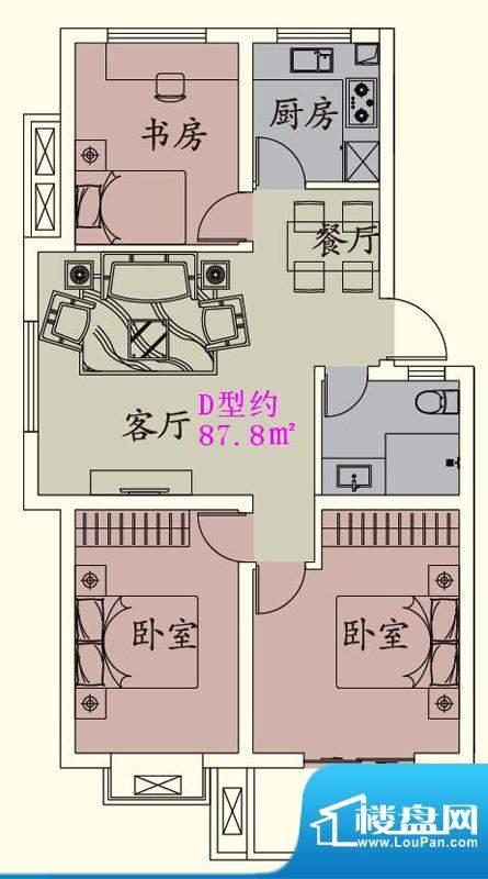 贵人蝶苑一期多层住面积:87.70平米